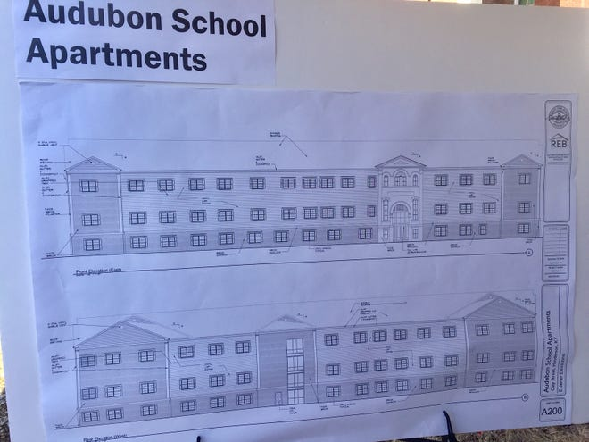 An architect's schematic of what the new Audubon School Apartments will look like.