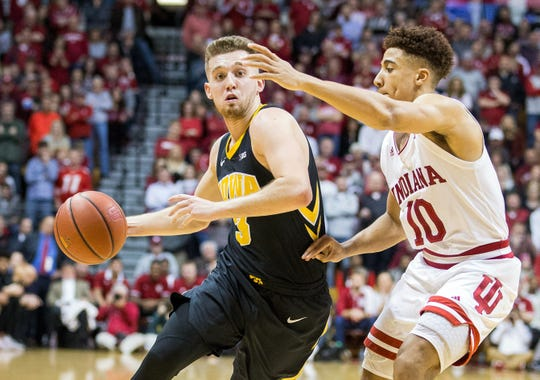Iowa guard Jordan Bohannon, shown driving on Indiana's Rob Phinisee on Thursday, hasn't been shy about declaring his team's ultimate goal: the Final Four in Minneapolis.