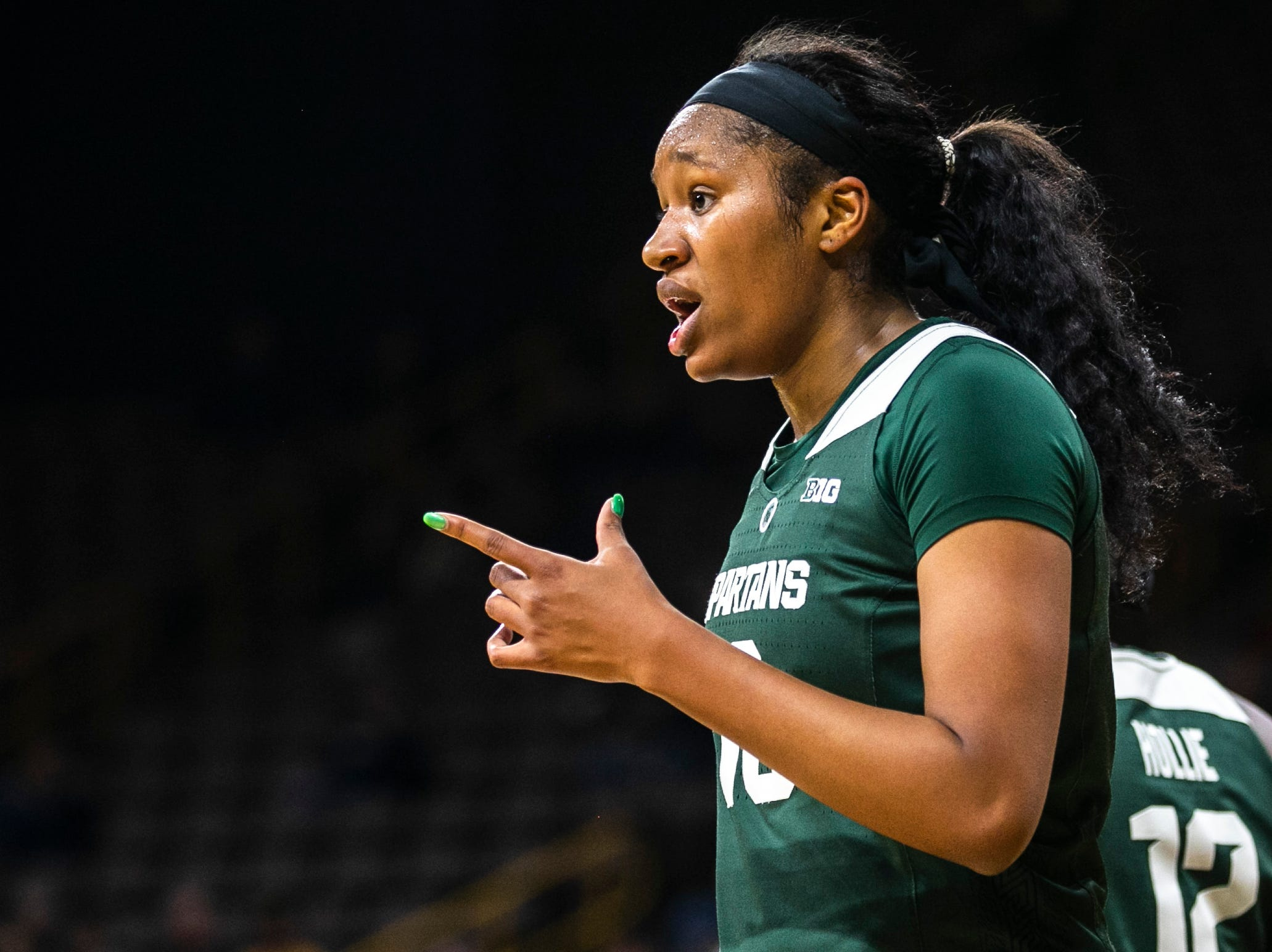 Michigan State forward Sidney Cooks (10) looks to the bench during a NCAA Big Ten Conference women's basketball game on Thursday, Feb. 7, 2019 at Carver-Hawkeye Arena in Iowa City, Iowa.