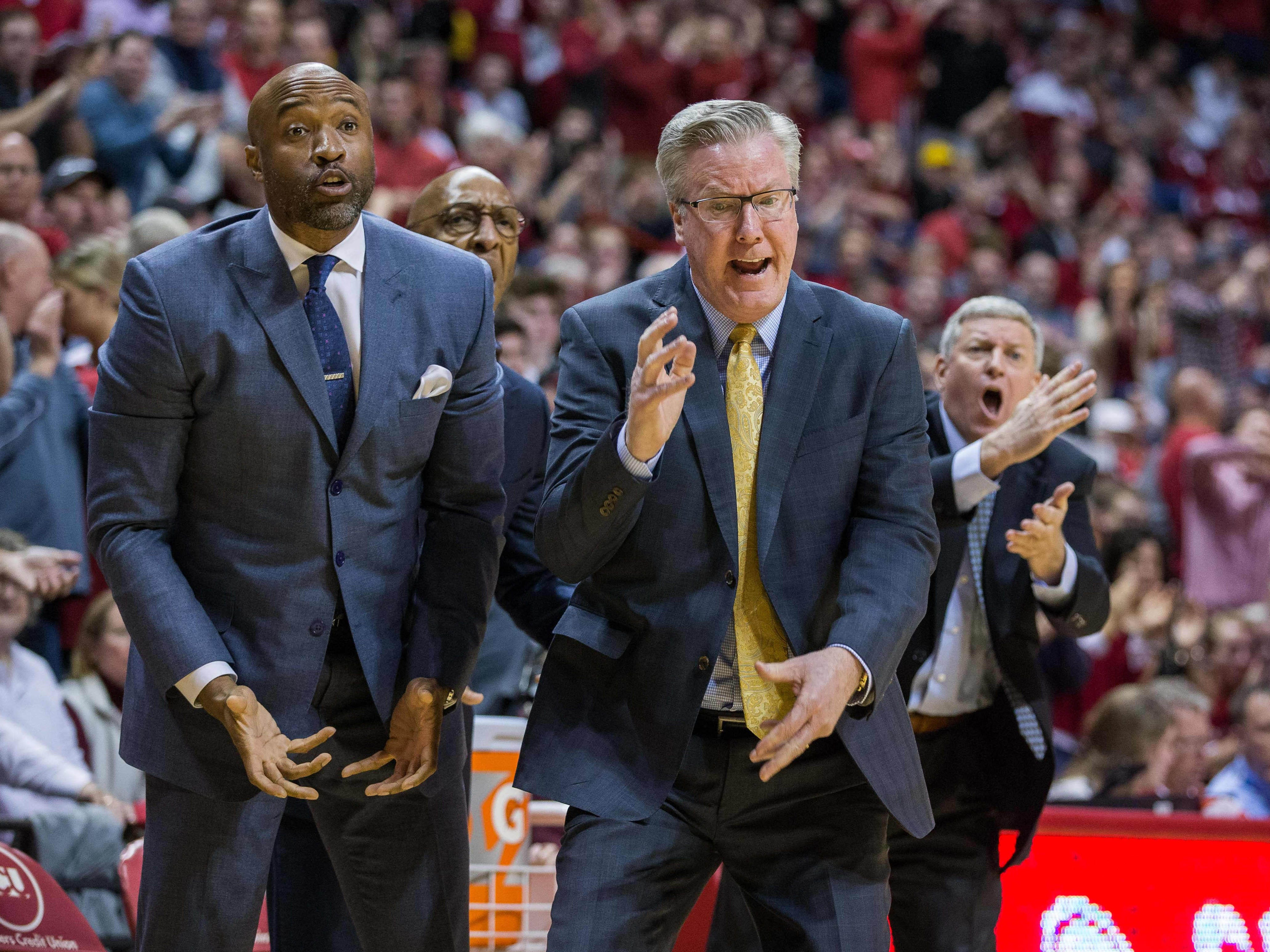 Iowa Hawkeyes head coach Fran McCaffery reacts to a foul on the sideline in the second half against the Indiana Hoosiers at Assembly Hall. Mandatory Credit: Trevor Ruszkowski-USA TODAY Sports