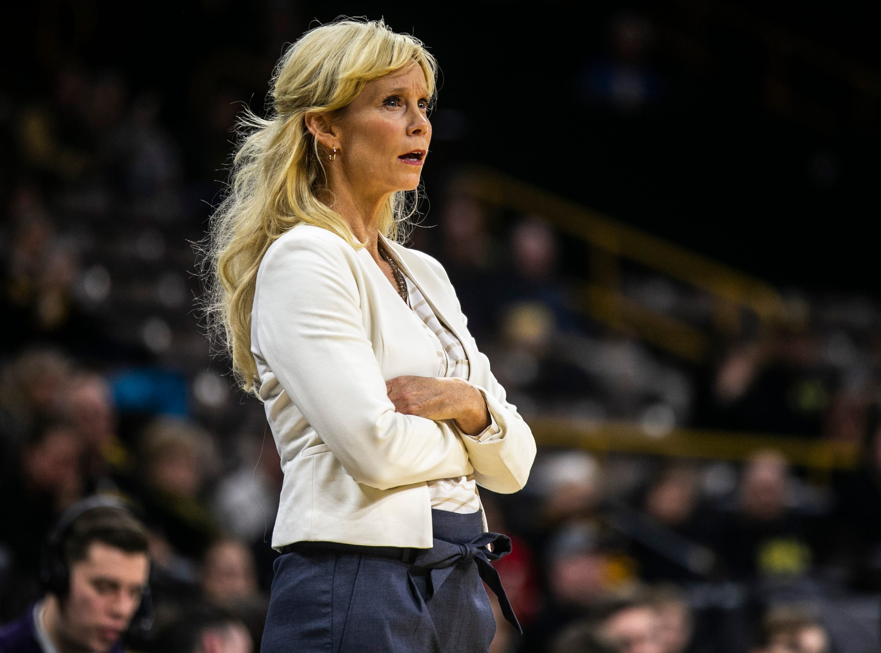 Michigan State head coach Suzy Merchant reacts to a call during a NCAA Big Ten Conference women's basketball game on Thursday, Feb. 7, 2019 at Carver-Hawkeye Arena in Iowa City, Iowa.