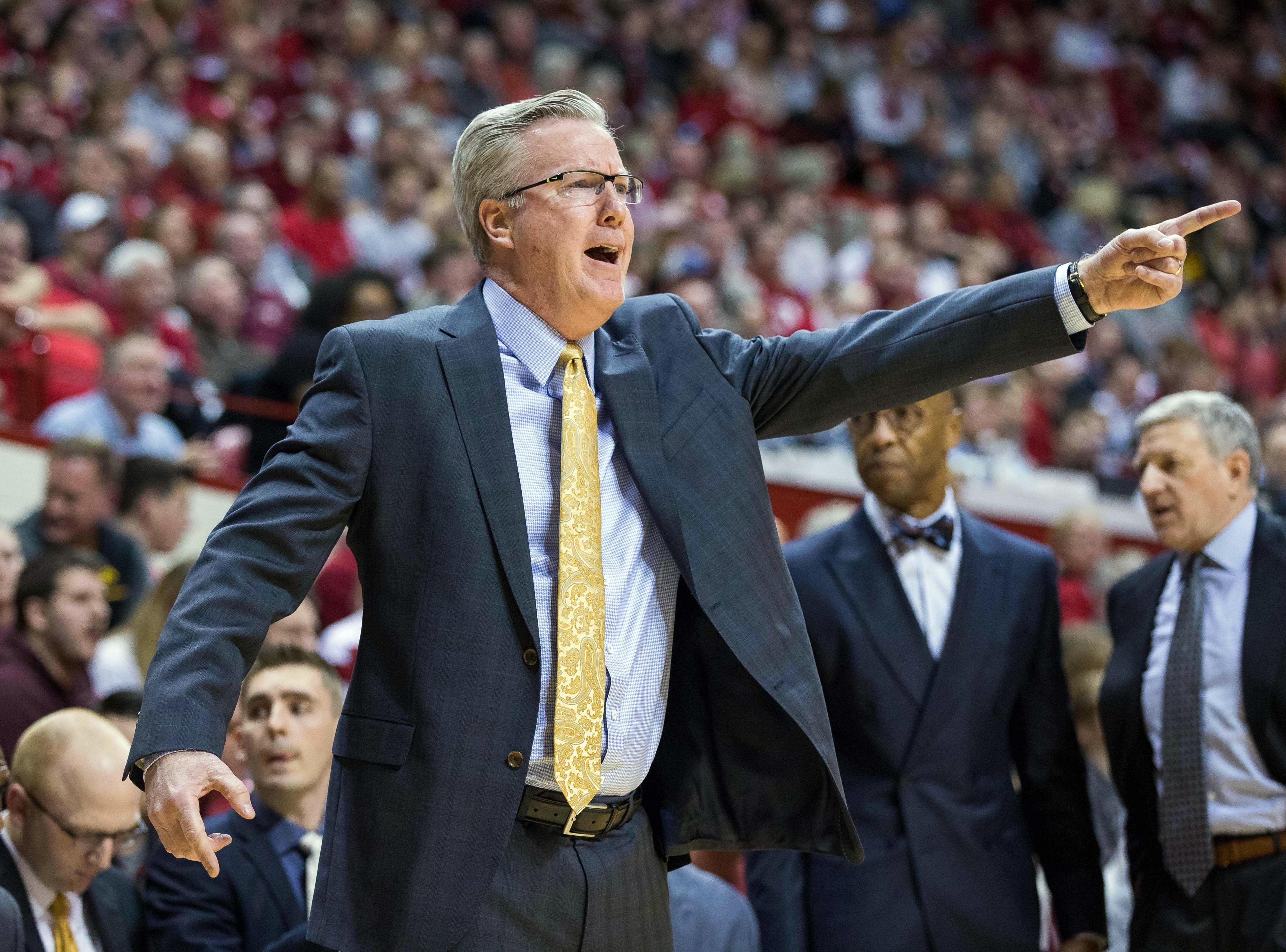 Iowa Hawkeyes head coach Fran McCaffery yells out a call in the first half against the Indiana Hoosiers at Assembly Hall. Mandatory Credit: Trevor Ruszkowski-USA TODAY Sports