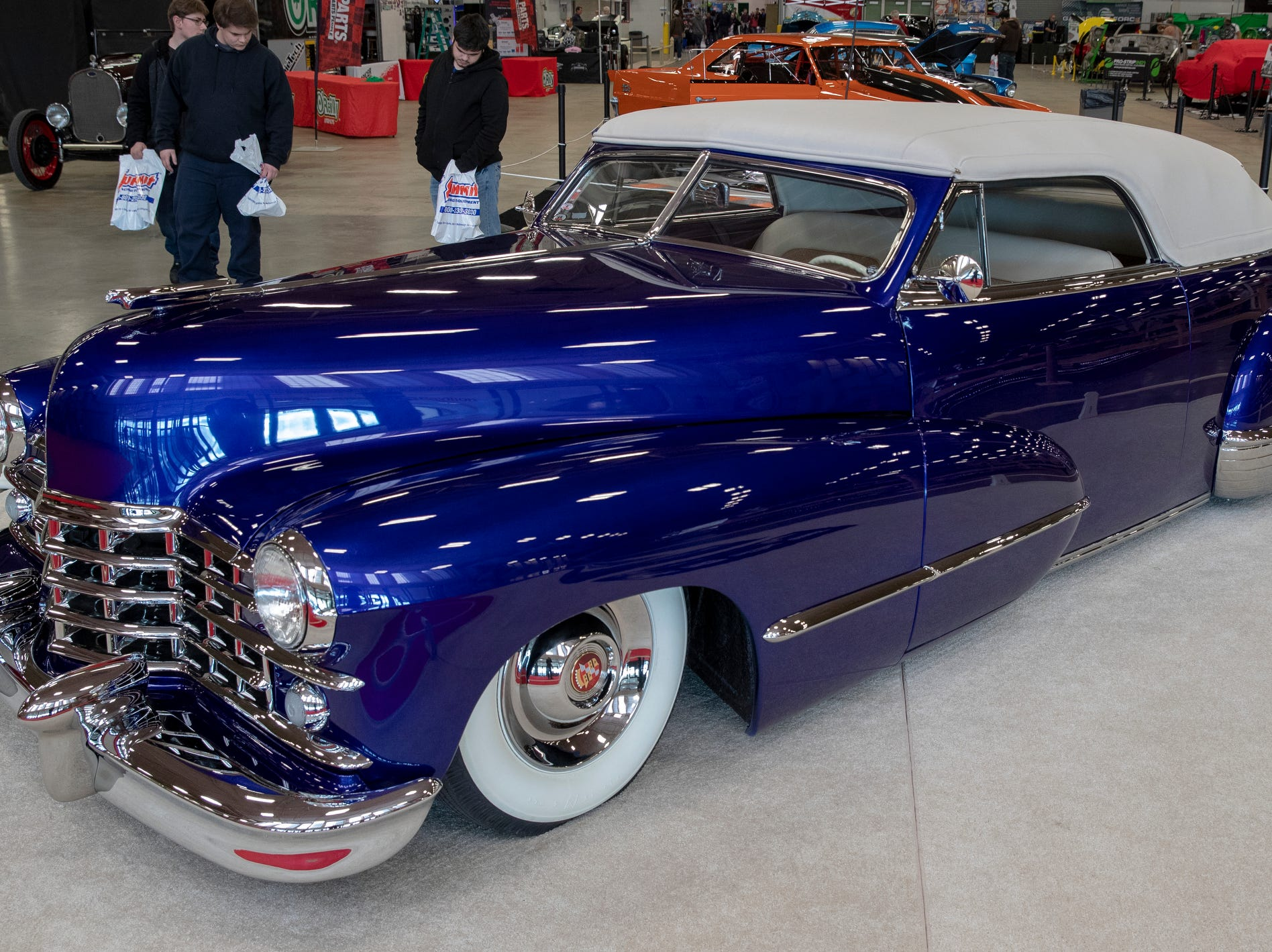 A custom 1947 Cadillac, at World of Wheels at the Indiana State Fairgrounds, Indianapolis, Friday, Feb. 8, 2019. The event runs through the weekend and features four big rooms of stock and heavily customized cars.