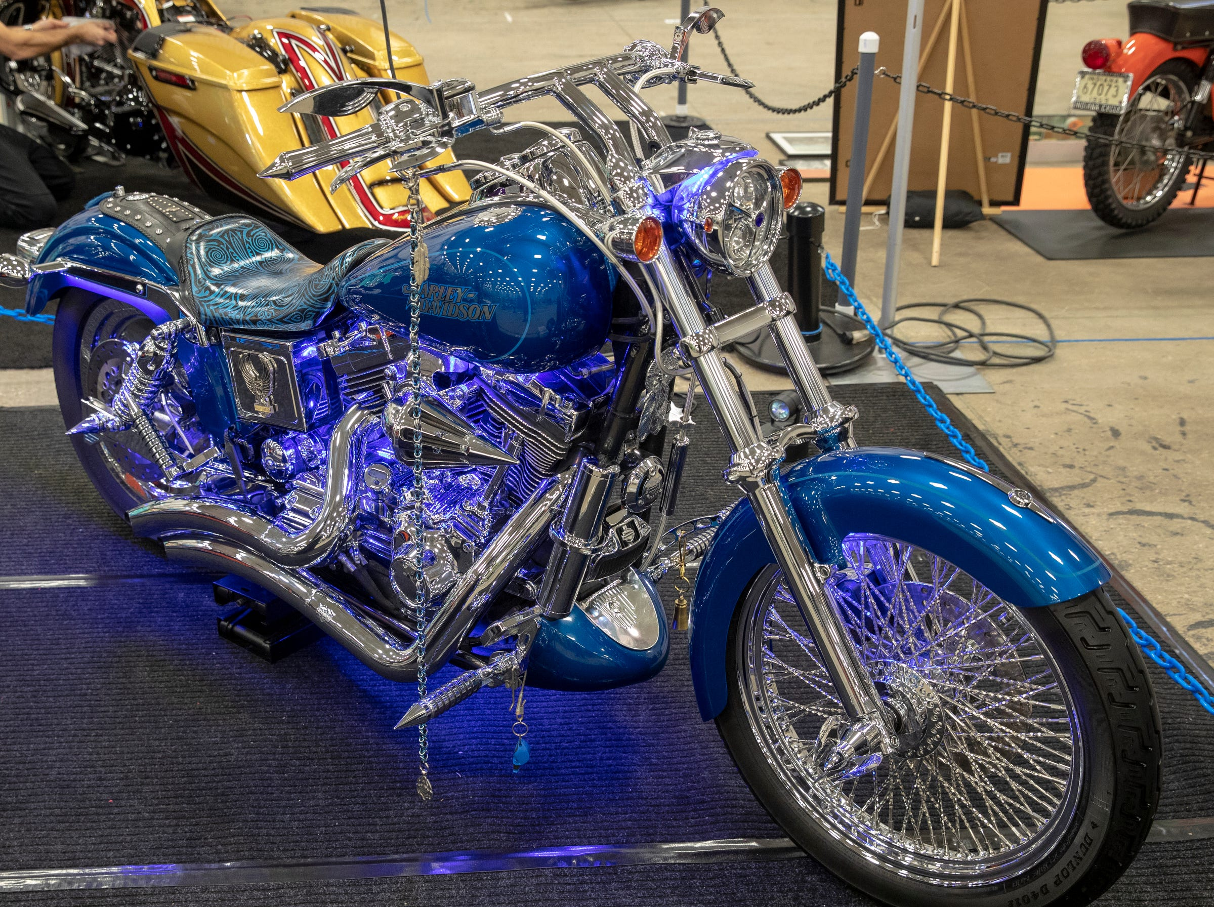 A 2005 Harley-Davidson Low Rider, at World of Wheels at the Indiana State Fairgrounds, Indianapolis, Friday, Feb. 8, 2019. The event runs through the weekend and features four big rooms of stock and heavily customized cars.
