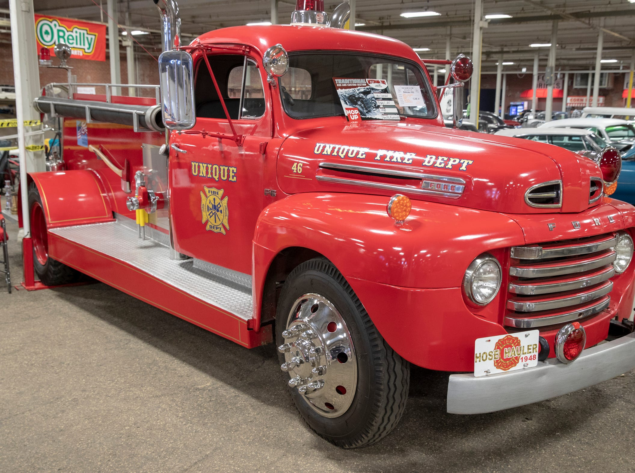 A 1948 Ford Flo firetruck, at World of Wheels at the Indiana State Fairgrounds, Indianapolis, Friday, Feb. 8, 2019. The event runs through the weekend and features four big rooms of stock and heavily customized cars.