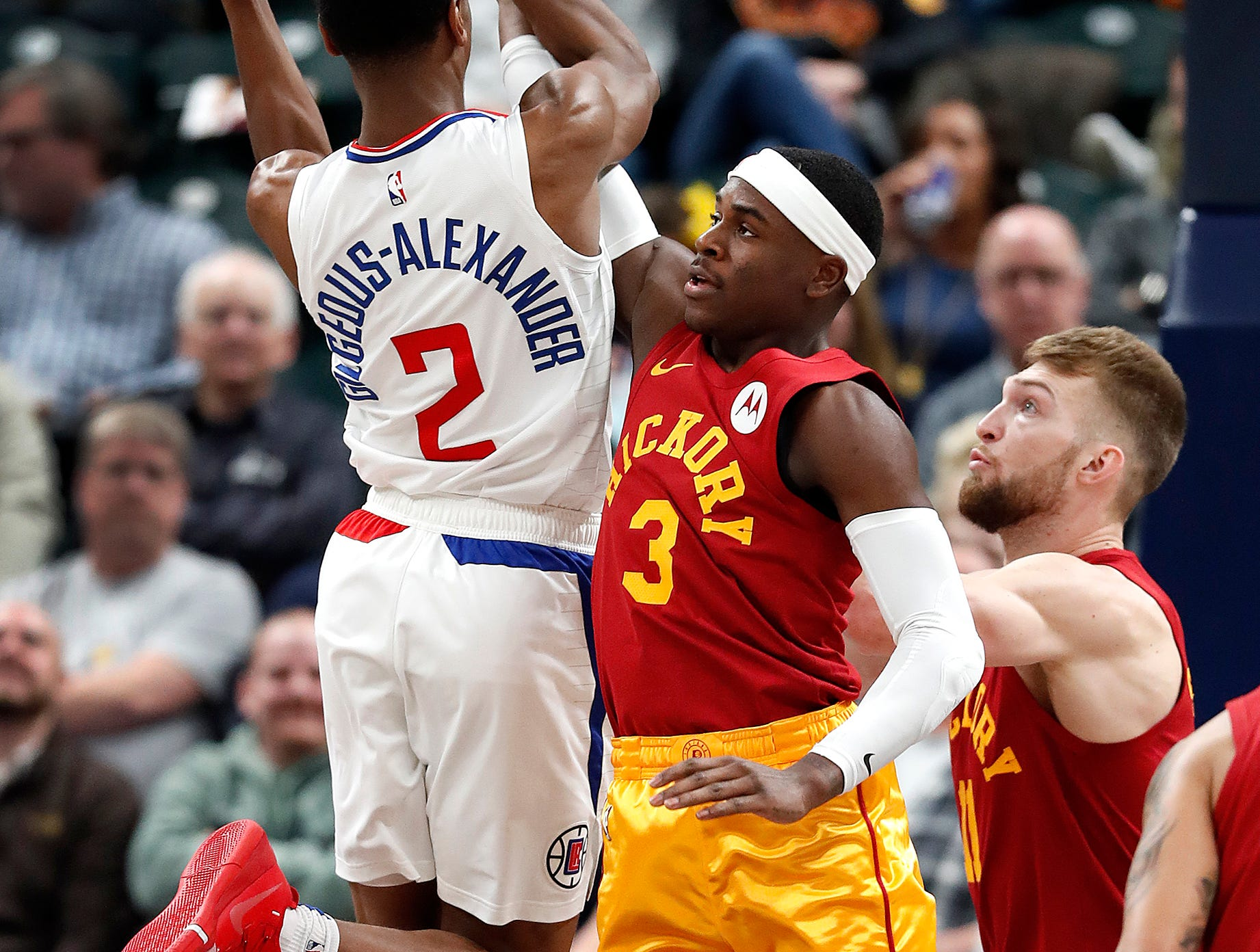 Indiana Pacers guard Darren Collison (2) defends the shot by LA Clippers guard Shai Gilgeous-Alexander (2) in the second half of their game at Bankers Life Fieldhouse on Thursday, Feb. 7, 2019.