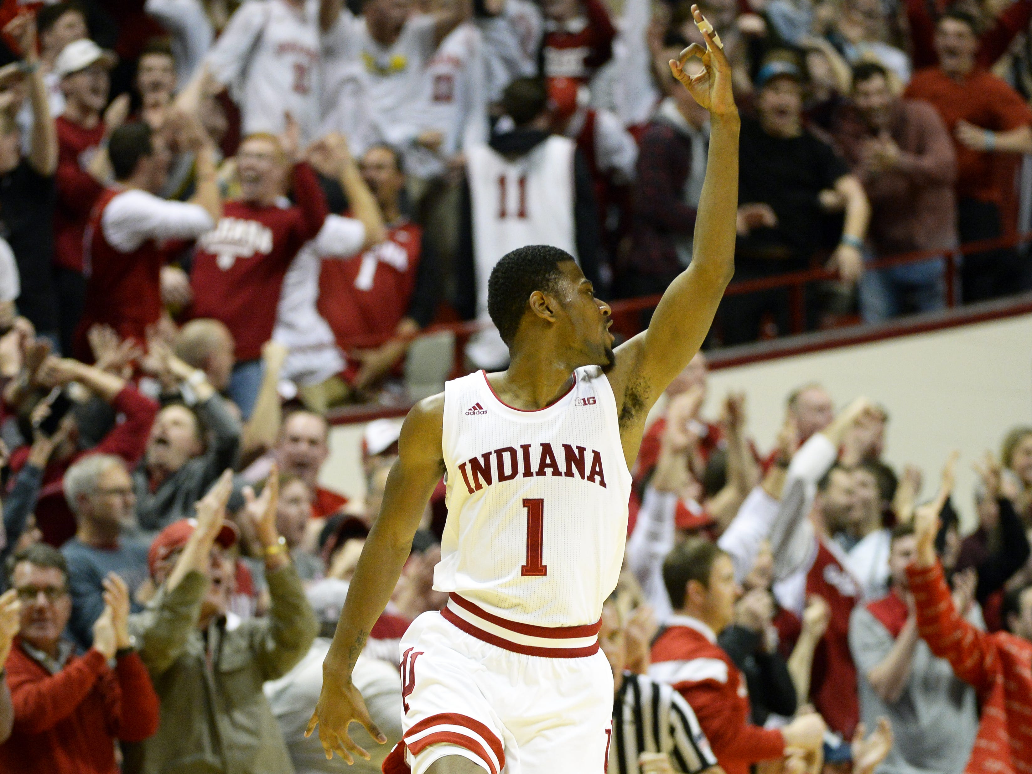 Indiana Hoosiers guard Al Durham (1) celebrates after making a shot during the game against Iowa at Simon Skjodt Assembly Hall in Bloomington Ind., on Thursday, Feb. 7, 2019.