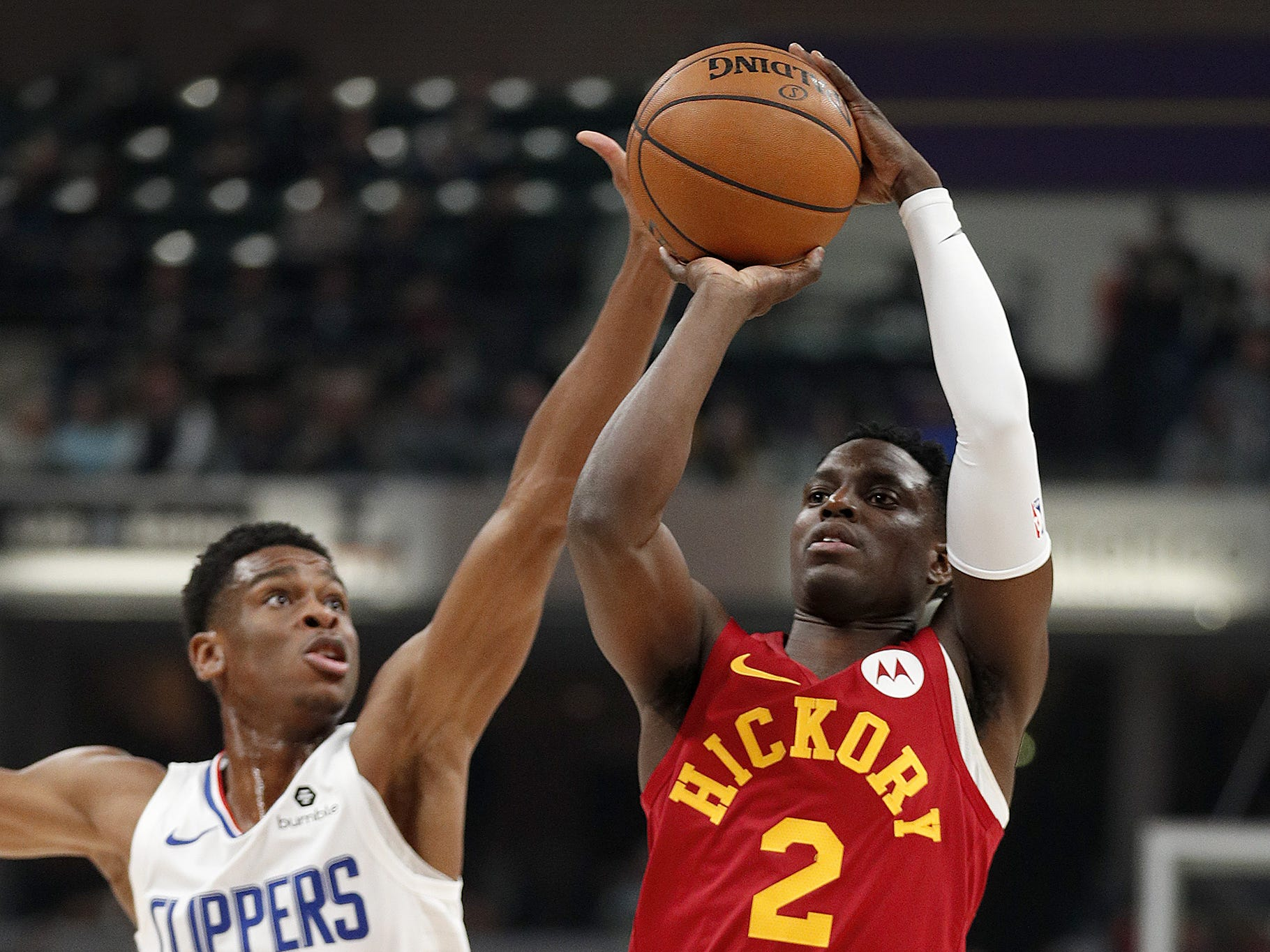 Indiana Pacers guard Darren Collison (2) shoots over LA Clippers guard Shai Gilgeous-Alexander (2) in the first half of their game at Bankers Life Fieldhouse on Thursday, Feb. 7, 2019.