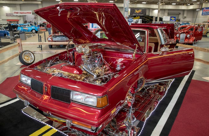 A heavily customized 1985 Olds Cutlass, at World of Wheels at the Indiana State Fairgrounds, Indianapolis, Friday, Feb. 8, 2019. The event runs through the weekend and features four big rooms of stock and heavily customized cars.