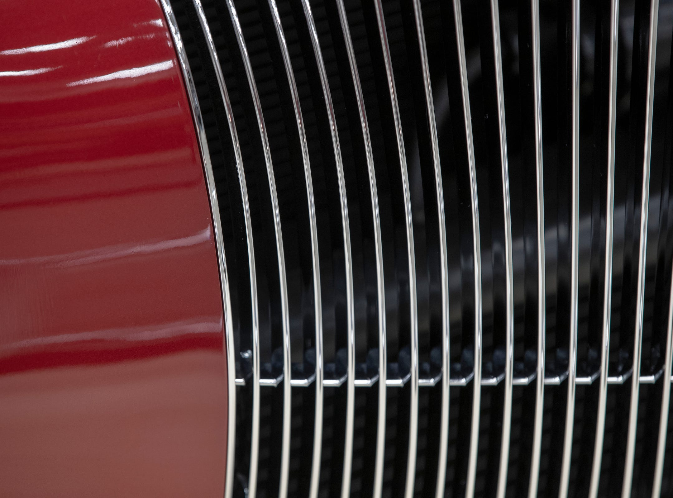 The grill on a 1941 Ford Roadster Truck, at World of Wheels at the Indiana State Fairgrounds, Indianapolis, Friday, Feb. 8, 2019. The event runs through the weekend and features four big rooms of stock and heavily customized cars.