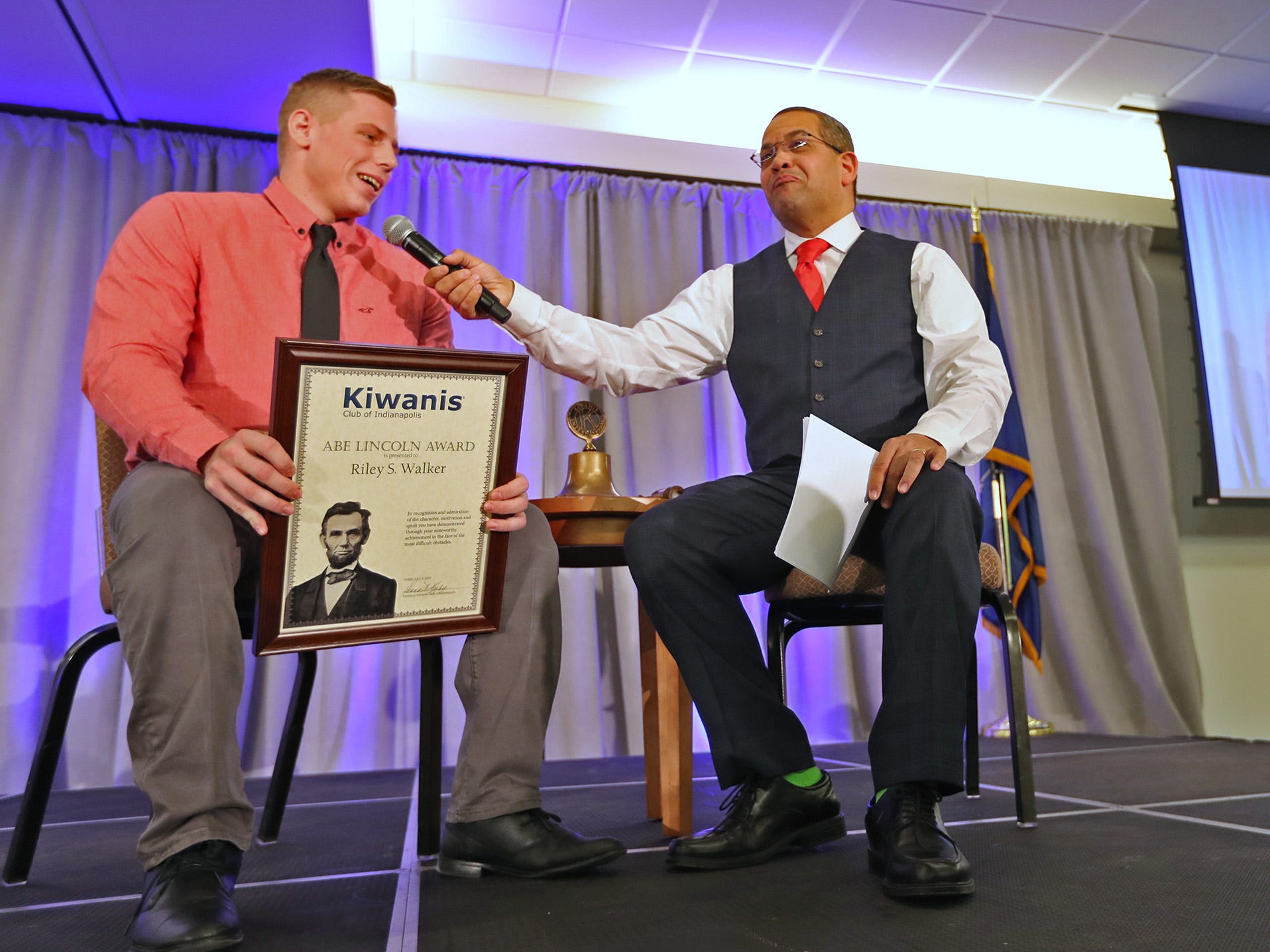 Riley Walker, left, from Speedway High School, is interviewed by Rafael Sanchez after being presented the 4th Place Scholarship award at the 44th  Annual Abe Lincoln Awards Program, Friday, Feb. 8, 2019. The Kiwanis Club of Indianapolis program was held at Ivy Tech Community College.  20 high school student were honored at the annual event which celebrates overcoming adversity in life to succeed.  Four of the 20 were given scholarships.