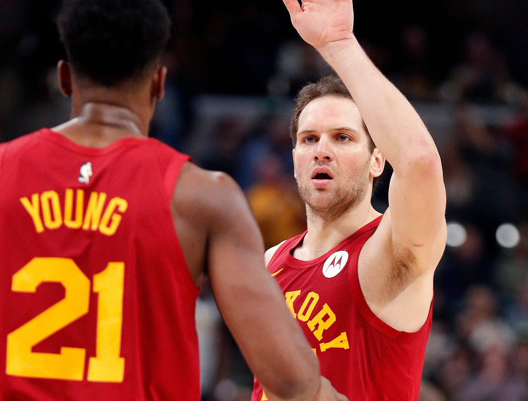 Indiana Pacers forward Bojan Bogdanovic (44) high-fives  Thaddeus Young (21) during a timeout of their game against the LA Clippers in the first half of their game at Bankers Life Fieldhouse on Thursday, Feb. 7, 2019.