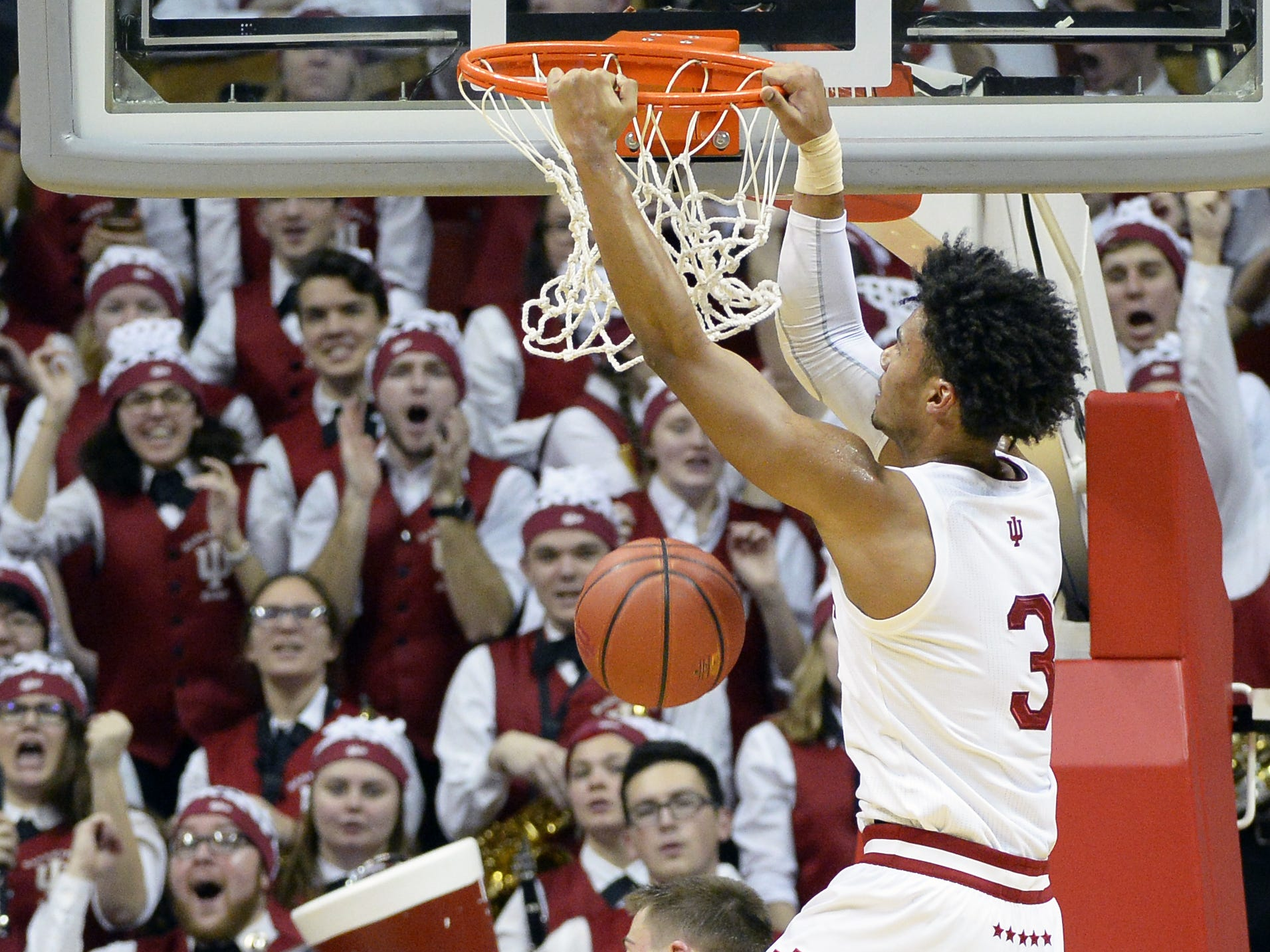 Indiana Hoosiers forward Justin Smith (3) dunks the ball during the game against Iowa at Simon Skjodt Assembly Hall in Bloomington Ind., on Thursday, Feb. 7, 2019.