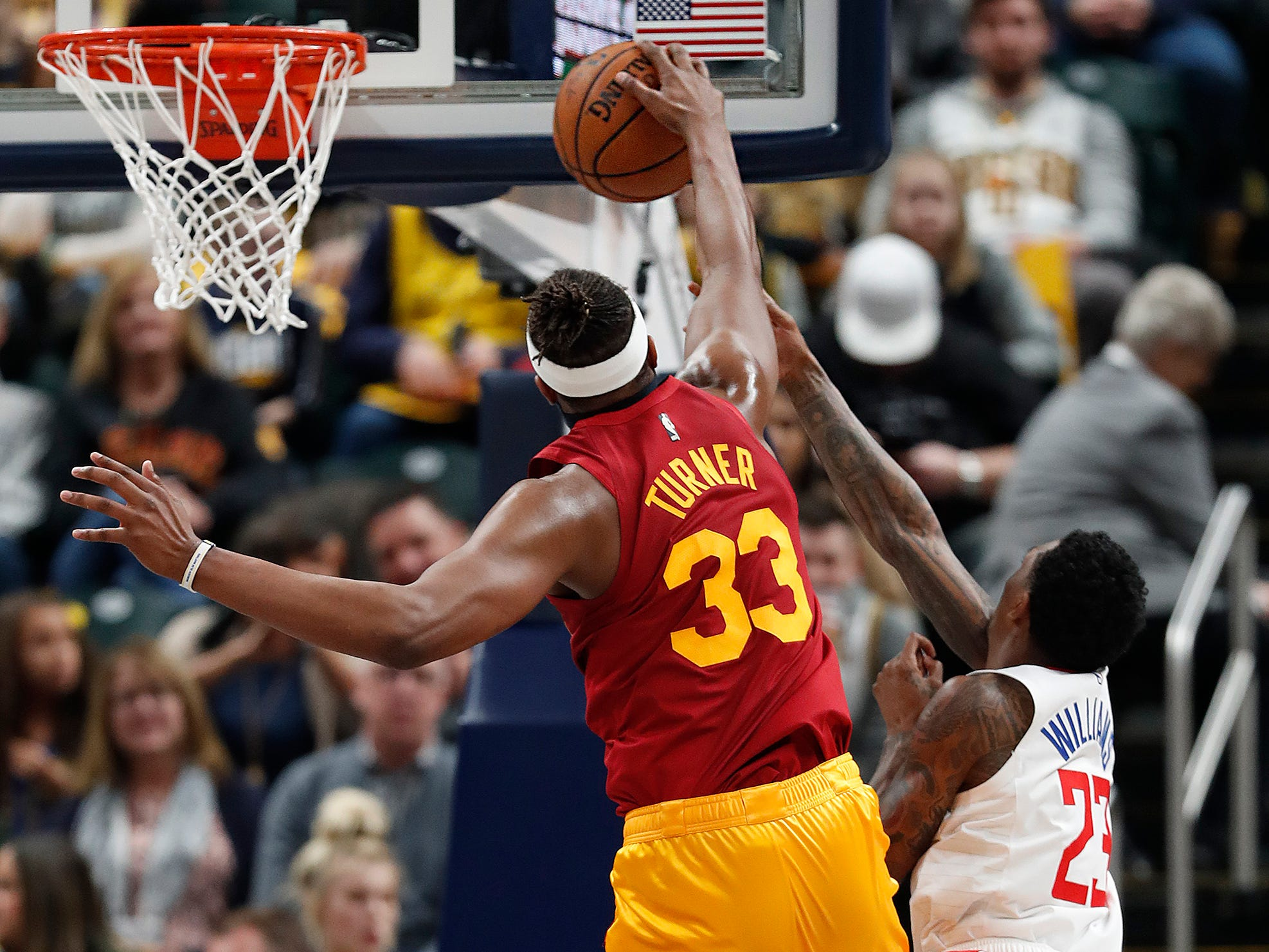 Indiana Pacers center Myles Turner (33) blocks the shot by LA Clippers guard Lou Williams (23) in the second half of their game at Bankers Life Fieldhouse on Thursday, Feb. 7, 2019.
