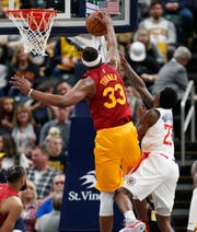 Indiana Pacers center Myles Turner (33) blocks ashot by LA Clippers guard Lou Williams (23) on Feb. 7 in Bankers Life Fieldhouse.
