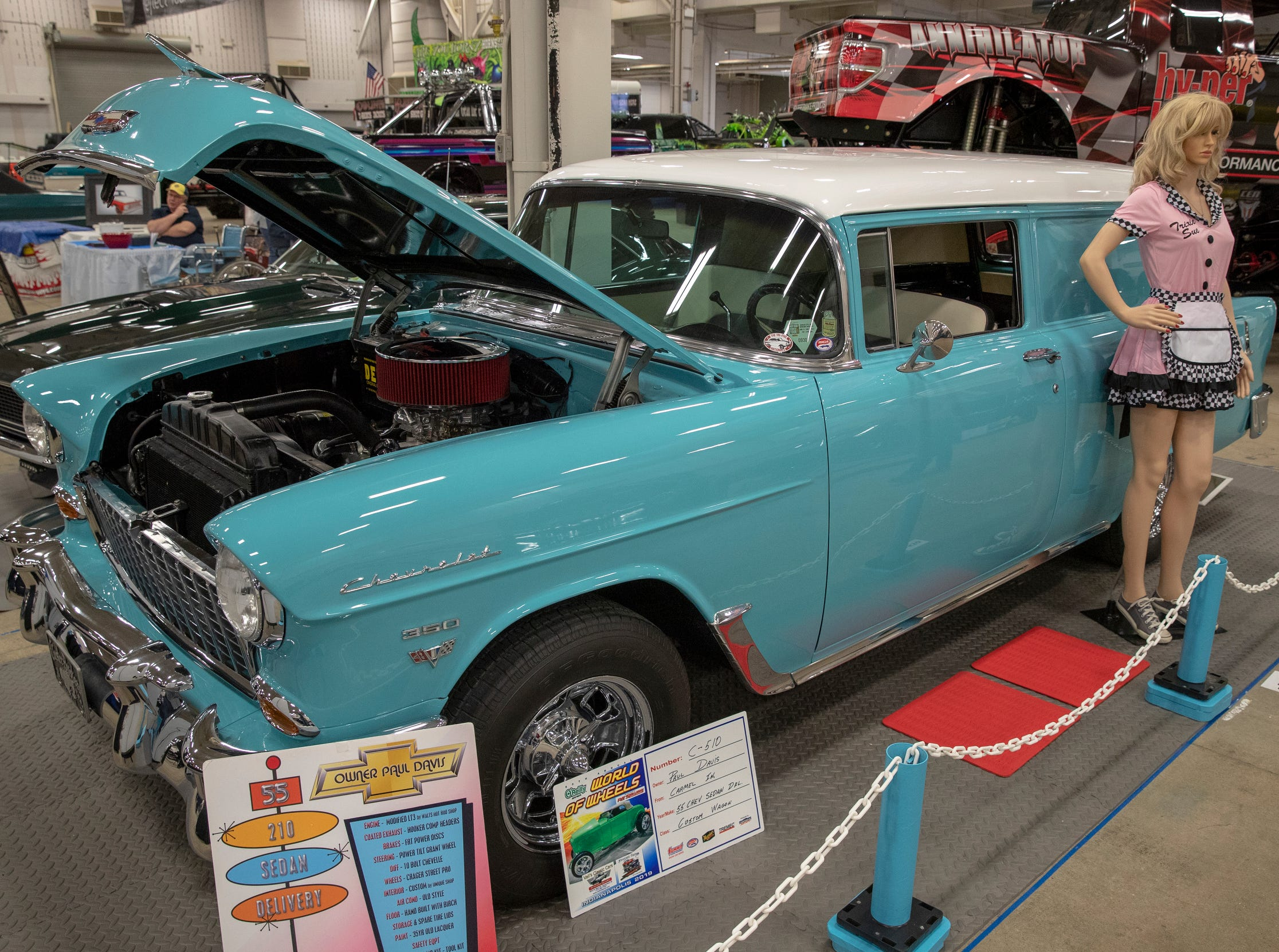 A 1955 Chevrolet, at World of Wheels at the Indiana State Fairgrounds, Indianapolis, Friday, Feb. 8, 2019. The event runs through the weekend and features four big rooms of stock and heavily customized cars.