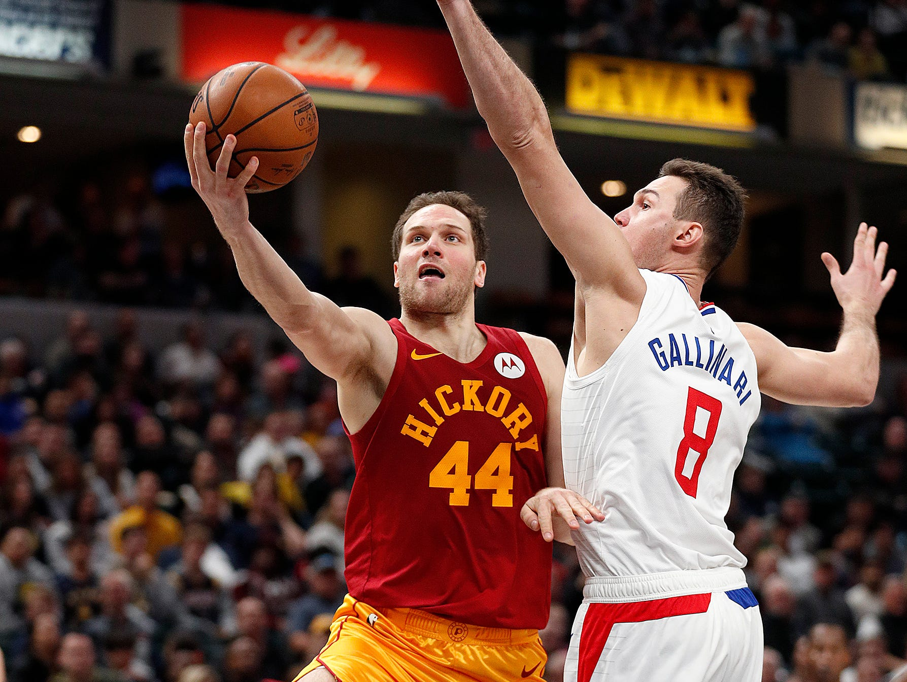 Indiana Pacers forward Bojan Bogdanovic (44) drives around LA Clippers forward Danilo Gallinari (8) in the second half of their game at Bankers Life Fieldhouse on Thursday, Feb. 7, 2019.