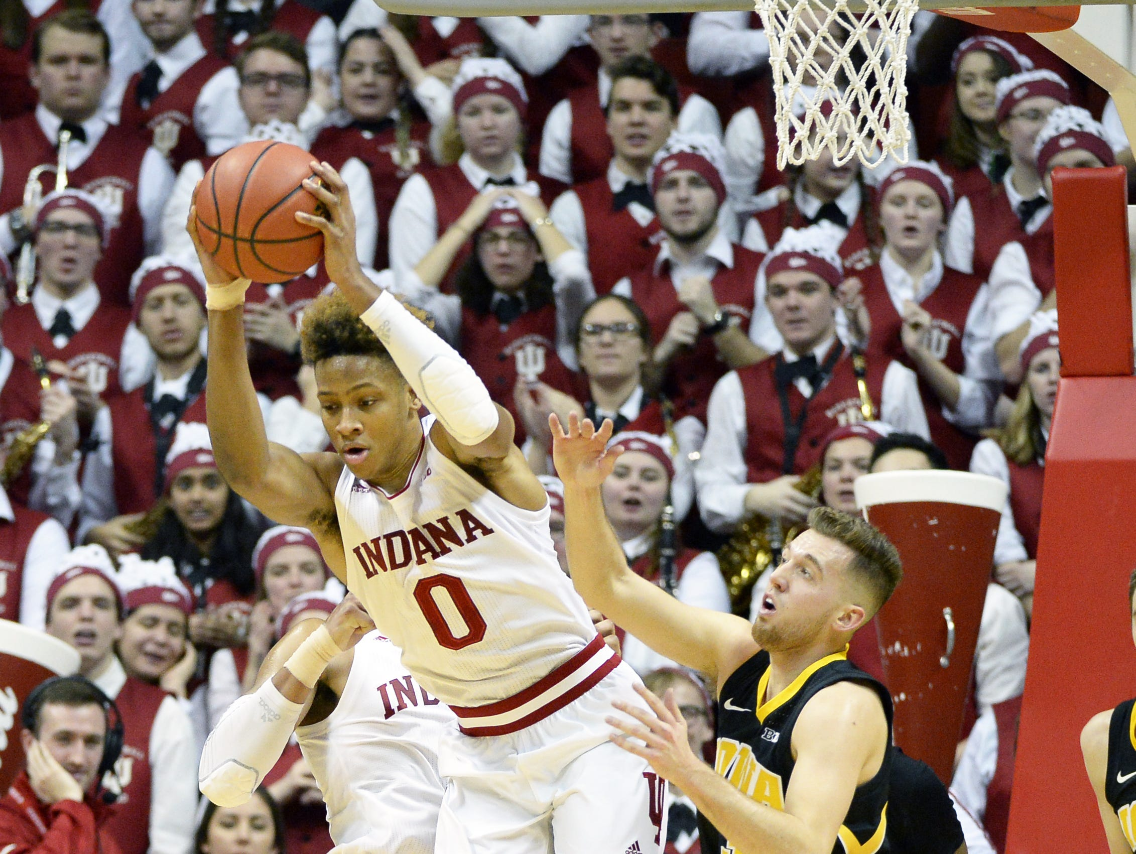 Indiana Hoosiers guard Romeo Langford (0) rebounds the ball during the game against Iowa at Simon Skjodt Assembly Hall in Bloomington Ind., on Thursday, Feb. 7, 2019.
