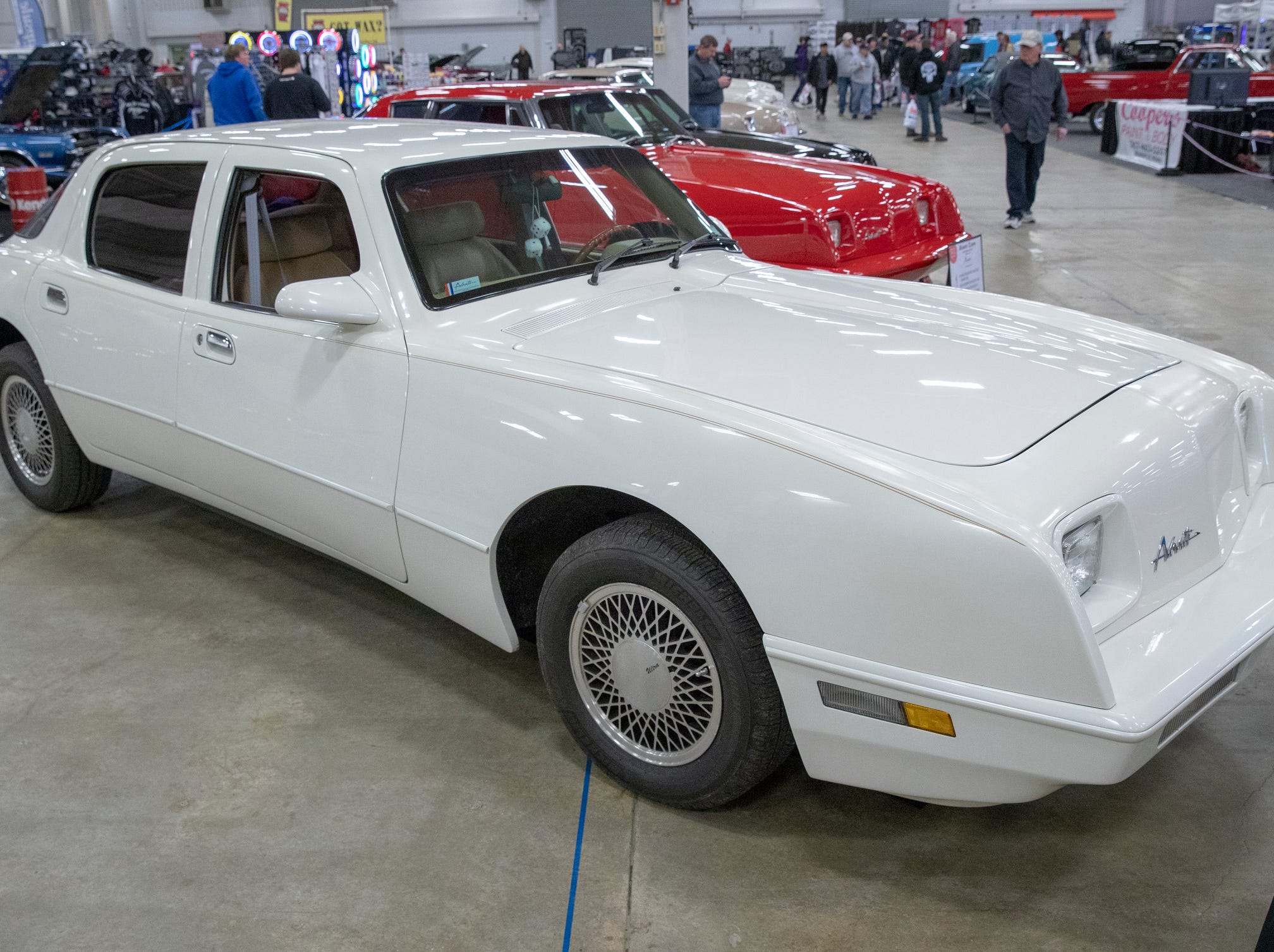 A 1990 Avanti Sports Sedan, at World of Wheels at the Indiana State Fairgrounds, Indianapolis, Friday, Feb. 8, 2019. The event runs through the weekend and features four big rooms of stock and heavily customized cars.