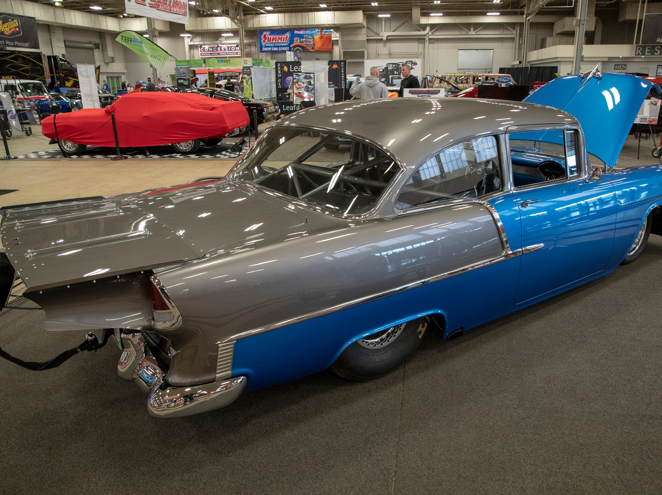 A 1955 Chevy, at World of Wheels at the Indiana State Fairgrounds, Indianapolis, Friday, Feb. 8, 2019. The event runs through the weekend and features four big rooms of stock and heavily customized cars.