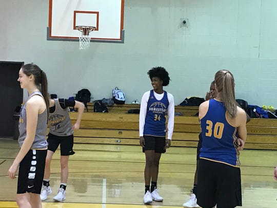 Homestead freshman Ayanna Patterson (34) at practice last week.