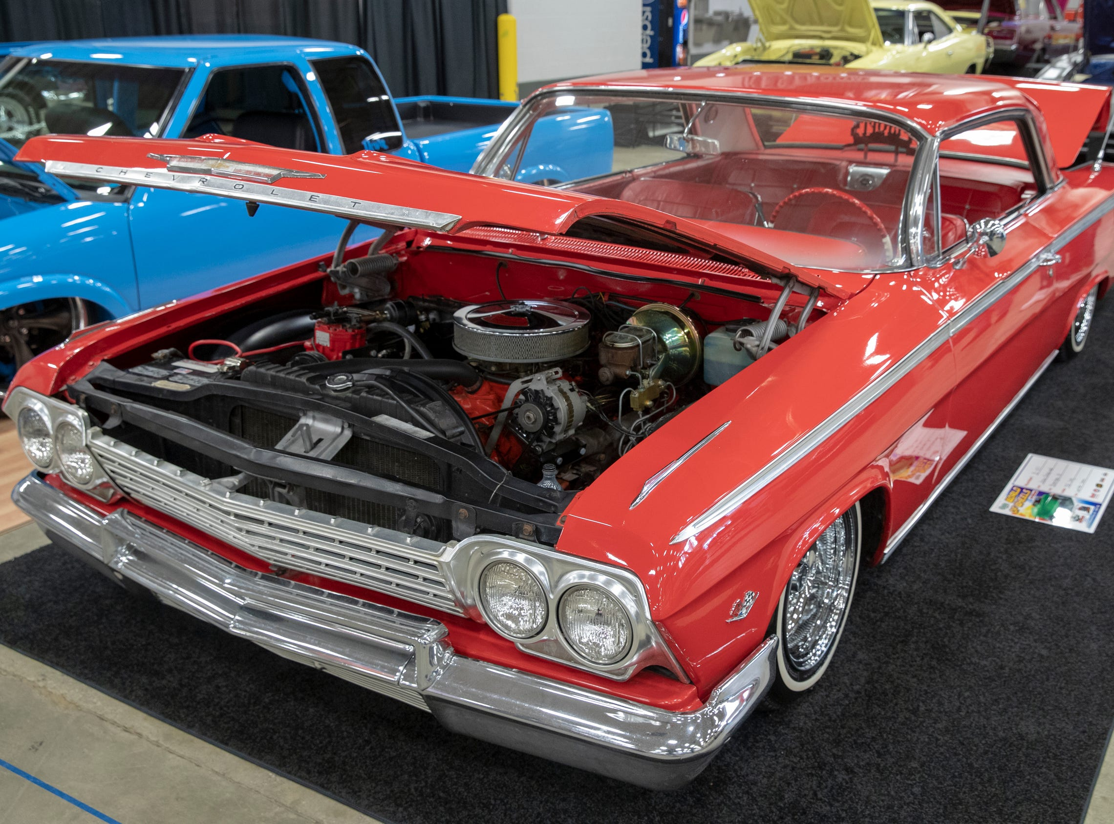 A 1962 Chevy, at World of Wheels at the Indiana State Fairgrounds, Indianapolis, Friday, Feb. 8, 2019. The event runs through the weekend and features four big rooms of stock and heavily customized cars.
