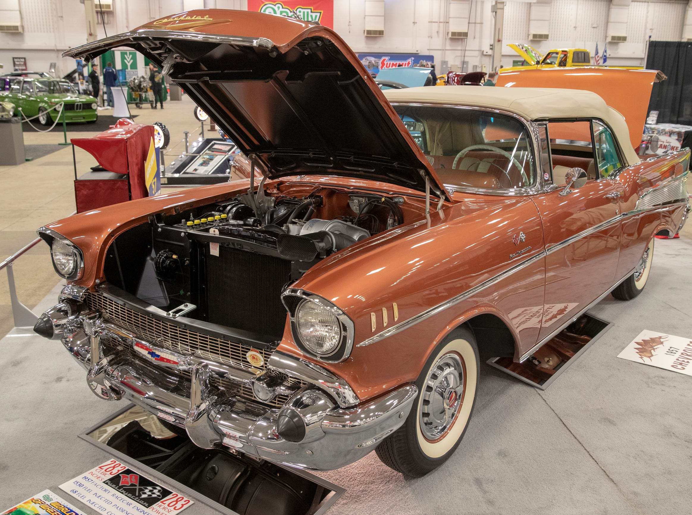 A 1957 Chevrolet, at World of Wheels at the Indiana State Fairgrounds, Indianapolis, Friday, Feb. 8, 2019. The event runs through the weekend and features four big rooms of stock and heavily customized cars.