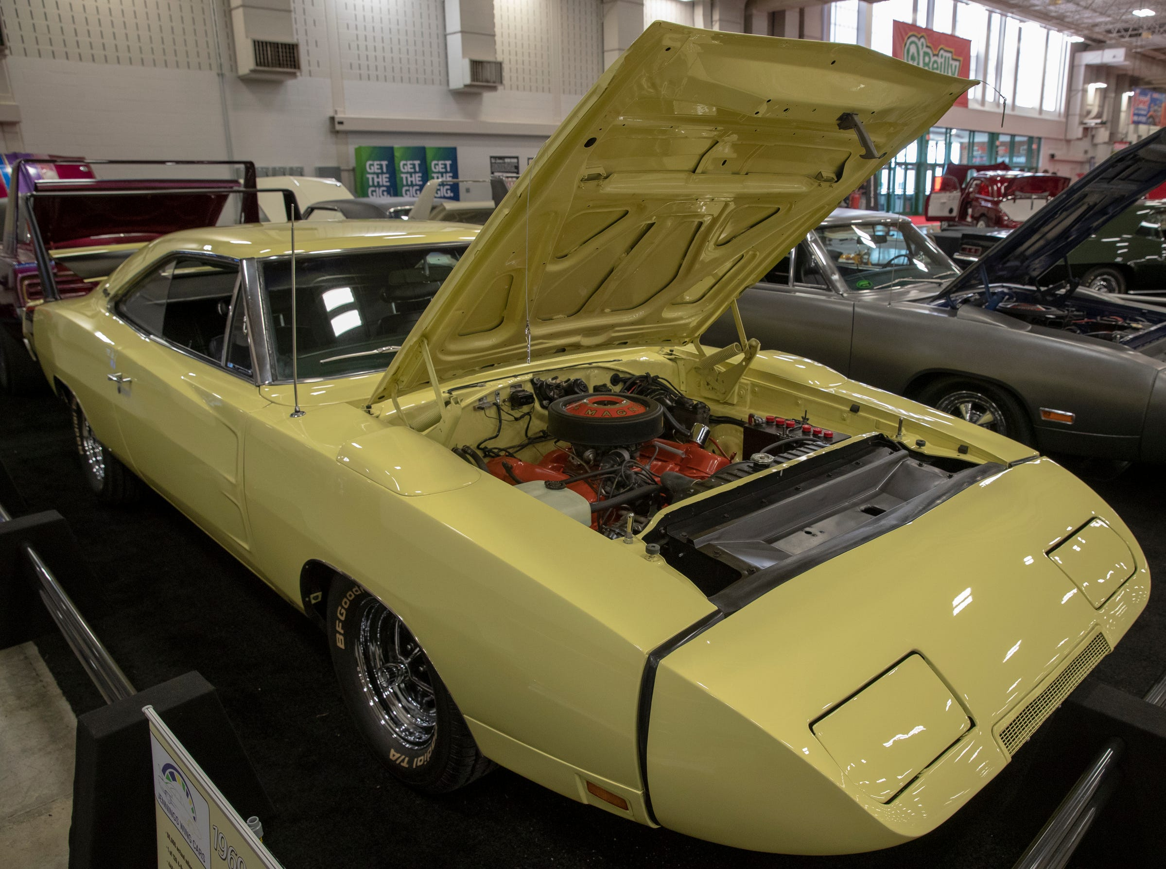 A 1969 Dodge Daytona, at World of Wheels at the Indiana State Fairgrounds, Indianapolis, Friday, Feb. 8, 2019. The event runs through the weekend and features four big rooms of stock and heavily customized cars.