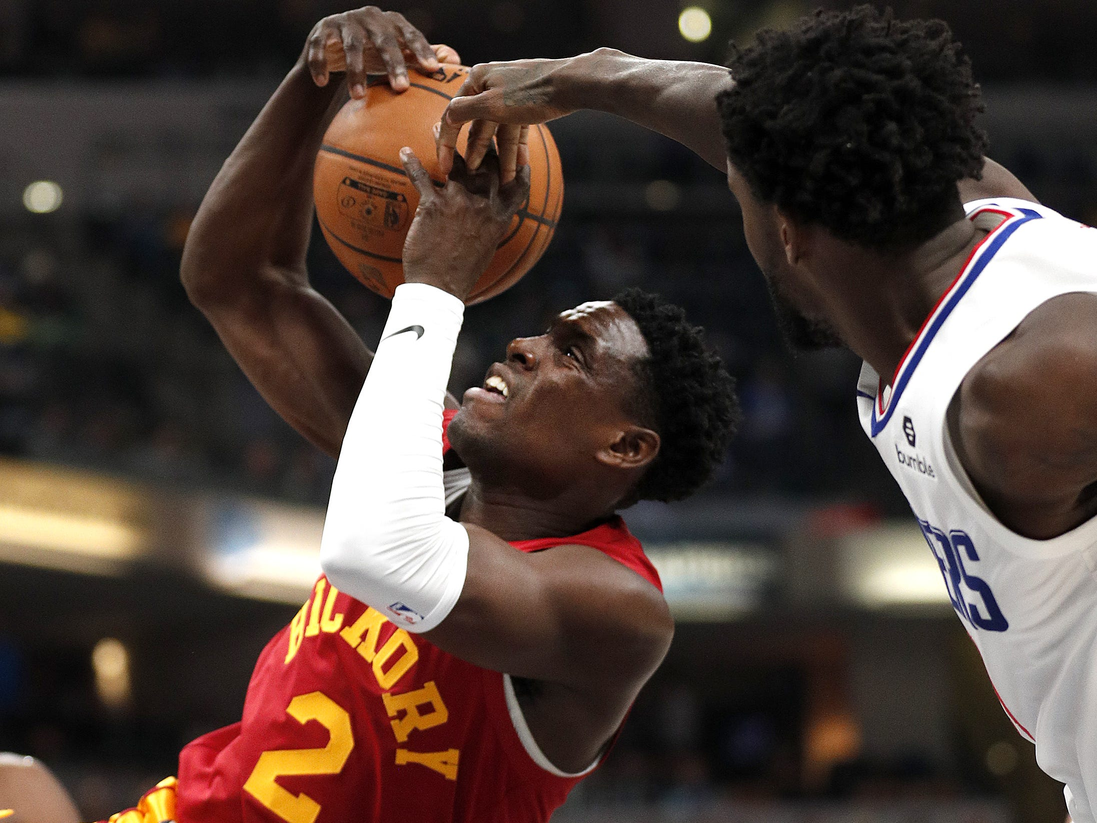 Indiana Pacers guard Darren Collison (2) has his shot blocked by LA Clippers guard Patrick Beverley (21) in the first half of their game at Bankers Life Fieldhouse on Thursday, Feb. 7, 2019.