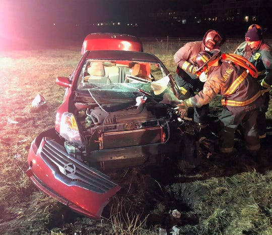 An IMPD officer suffered minor injuries in a head-on crash with a suspected drunken driver Thursday, Feb. 7, 2019.