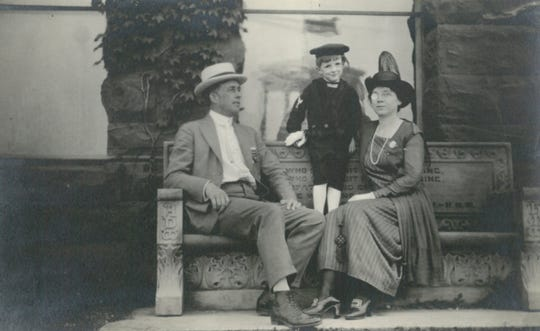 Zella White Stewart (right) pictured with her husband George Walter Stewart (left) and son, Rodney Stewart (center).