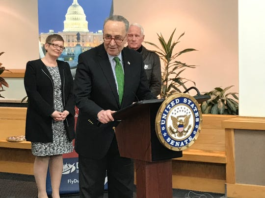 U.S. Sen. Charles Schumer visited Ithaca on Friday to announce he would push for $10 million in federal funding for the expansion of the Ithaca Tompkins Regional Airport.