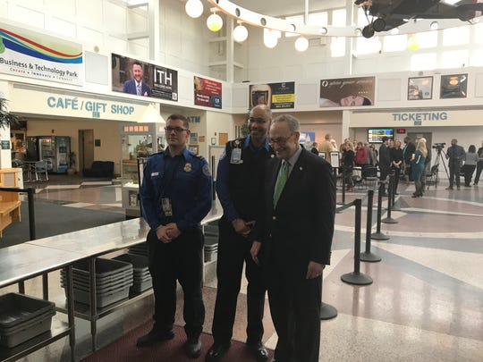 Sen. Charles Schumer thanks Transportation Safety Administration  workers Friday at Ithaca Tompkins Regional Airport.