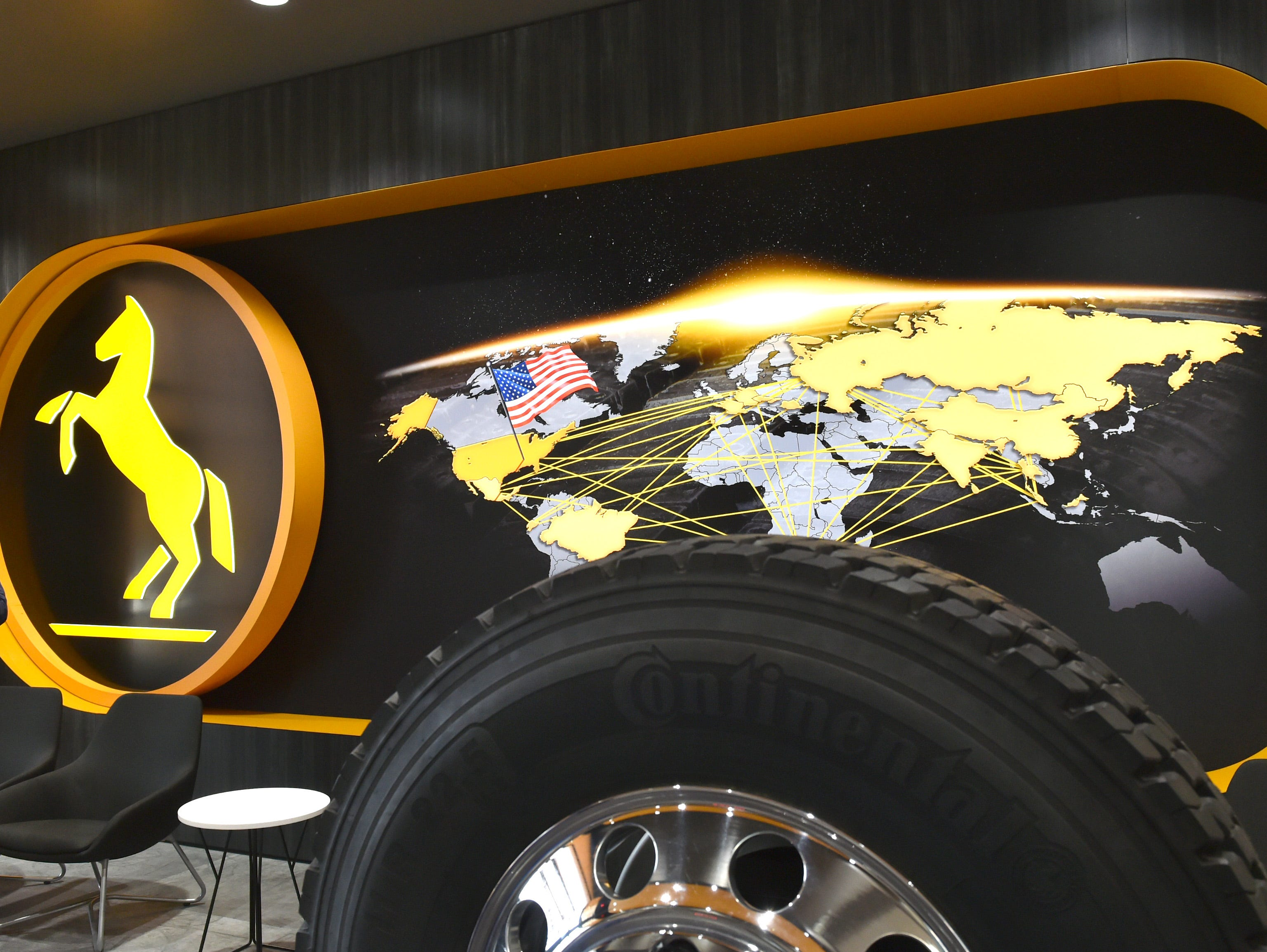 The lobby of Continental Tire training facility in Clinton, MS. At 23,000 square feet, the facility is used for job interviews, employee on-boarding, and professional development. Some 2,500 jobs are to be created by 2028. Friday, Feb. 8, 2019.