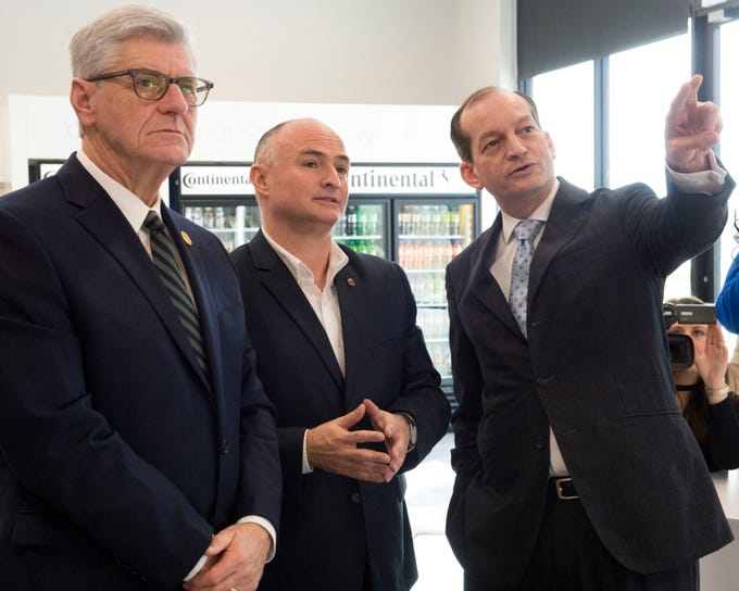 MS. Gov. Phil Bryant (left) toured the future site of Continental Tire with plant manager Michael Egner (center) and U.S. Sec. of Labor Alexander Acosta (right). The plant will produce large truck and bus tires for the U.S. market. Friday, Feb. 8, 2019.