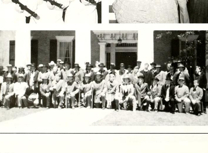 Members of the Kappa Alpha fraternity pose for a picture wearing Confederate Army garb. This photo was in the 1995-1996 yearbook of Millsaps College.