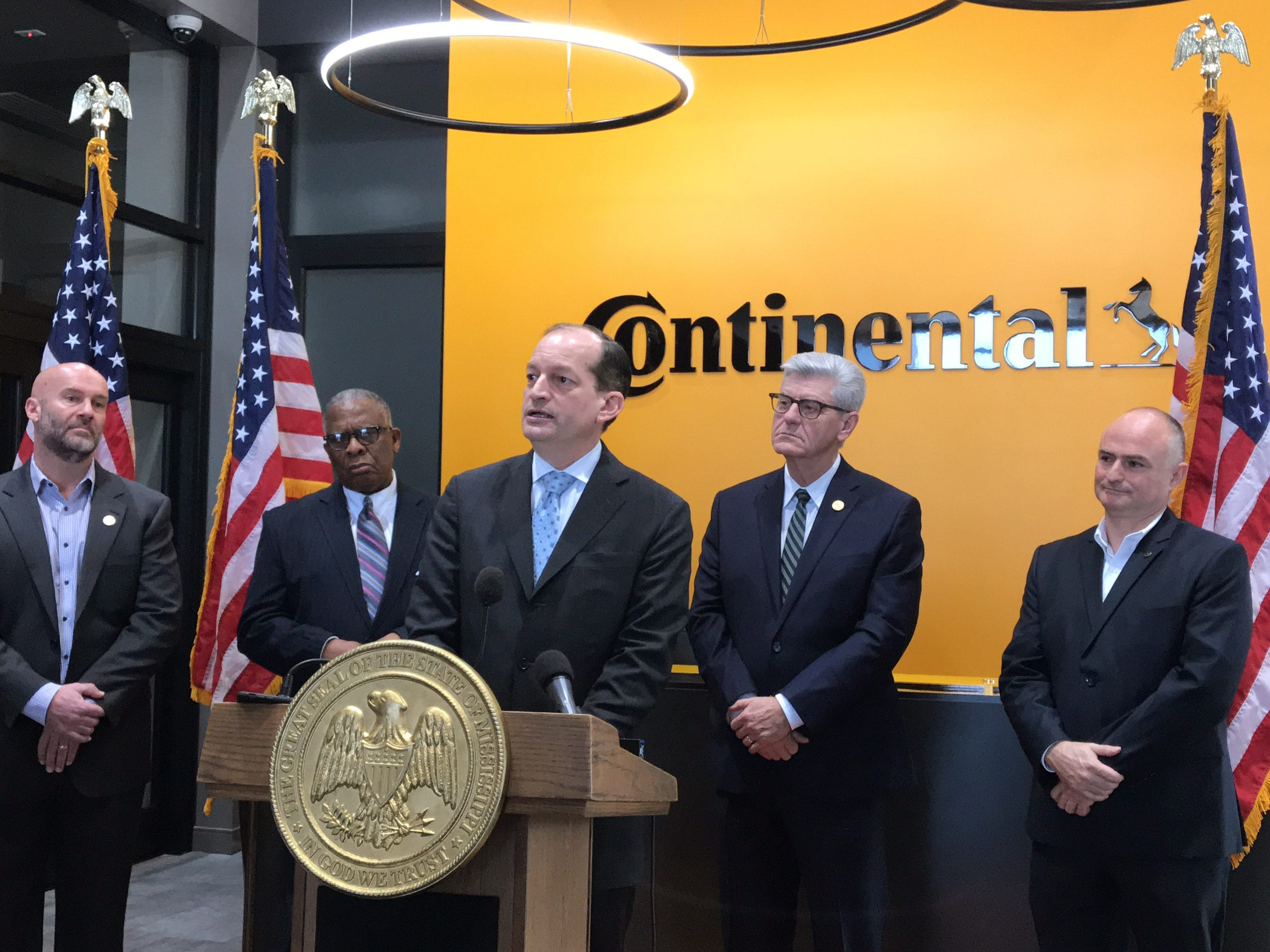 U.S. Sec of Labor Alexander Acosta (center) spoke to members of the press following a tour of the Continental Tire the Americas training facility in Clinton. Pictured left to right are; Paul Williams, Executive VP of Continental Tire the Americas;  George Flaggs, Vicksburg Mayor; Alexander Acosta, U.S. Sec. of Labor; Gov. Phil Bryant and Michael Egner, Plant Manager. Friday, Feb. 8, 2019.