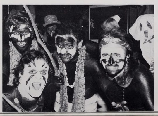A photo from a fraternity's page in a 1980s yearbook.