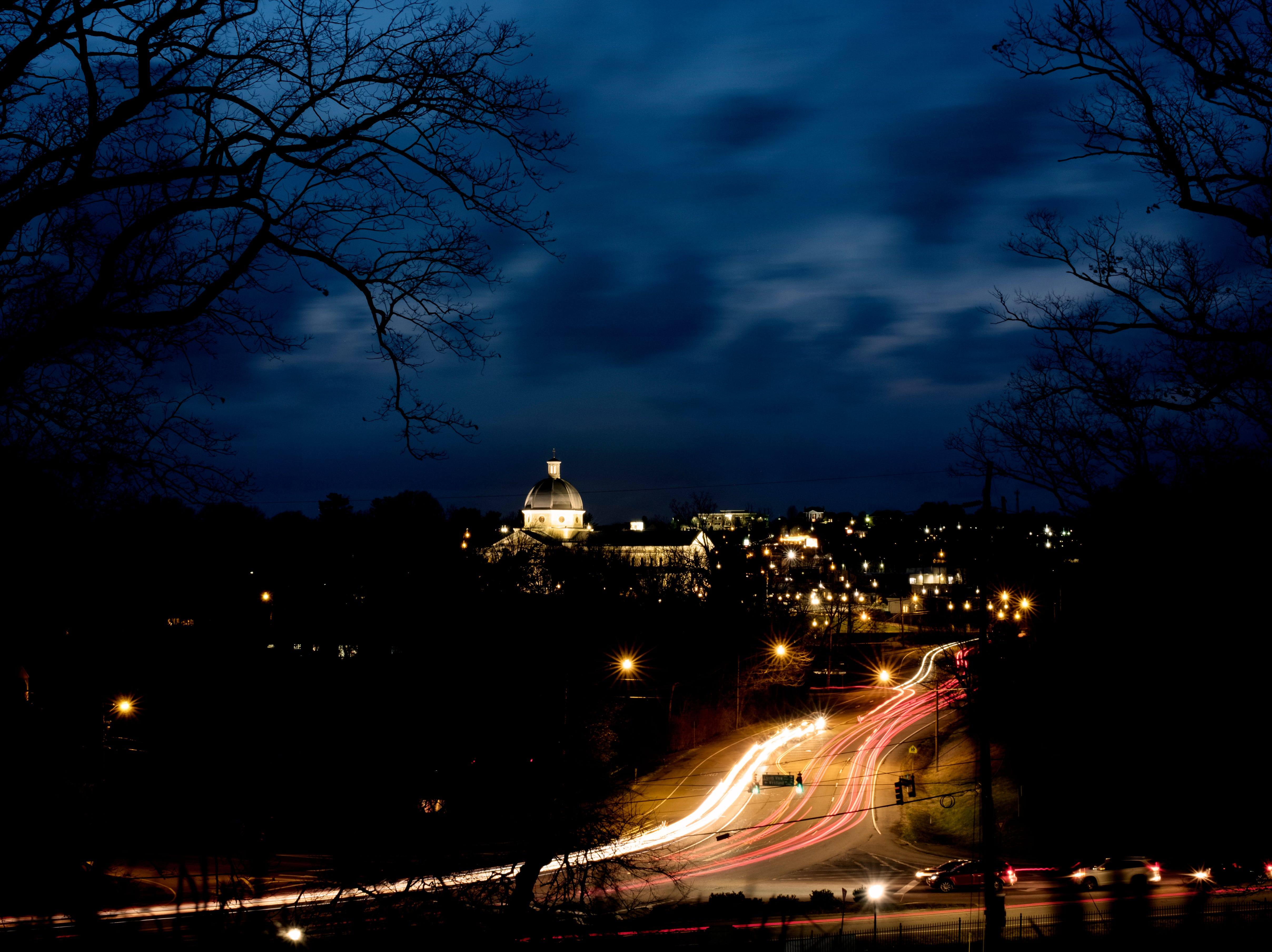 Traffic flows down Northshore Drive and Lyons View Pike in Knoxville, Tennessee on Thursday, February 7, 2019. The Cathedral of the Most Sacred Heart of Jesus can be seen in the distance.