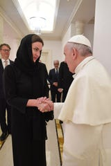 Hadley Gamble of Powell, who is a correspondent for CNBC, met last week with Pope Francis after a private mass for 10 people at Mushrif Palace in Abu Dhabi during the Pope's visit to the United Arab Emirates. (8 February 2019)