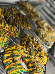 King Cakes on a drying rack at Crystal Weddings