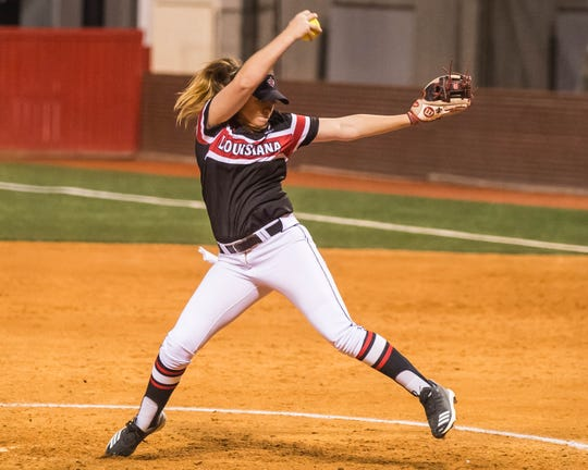 UL pitcher Summer Ellyson gets the victory in the circle, defeating Fordham  4-0 in the opening game of the 2019 softball season at Lamson Park on Thursday, Feb. 7, 2019.