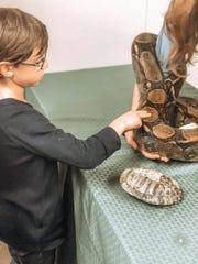 A child touches a Burmese python.