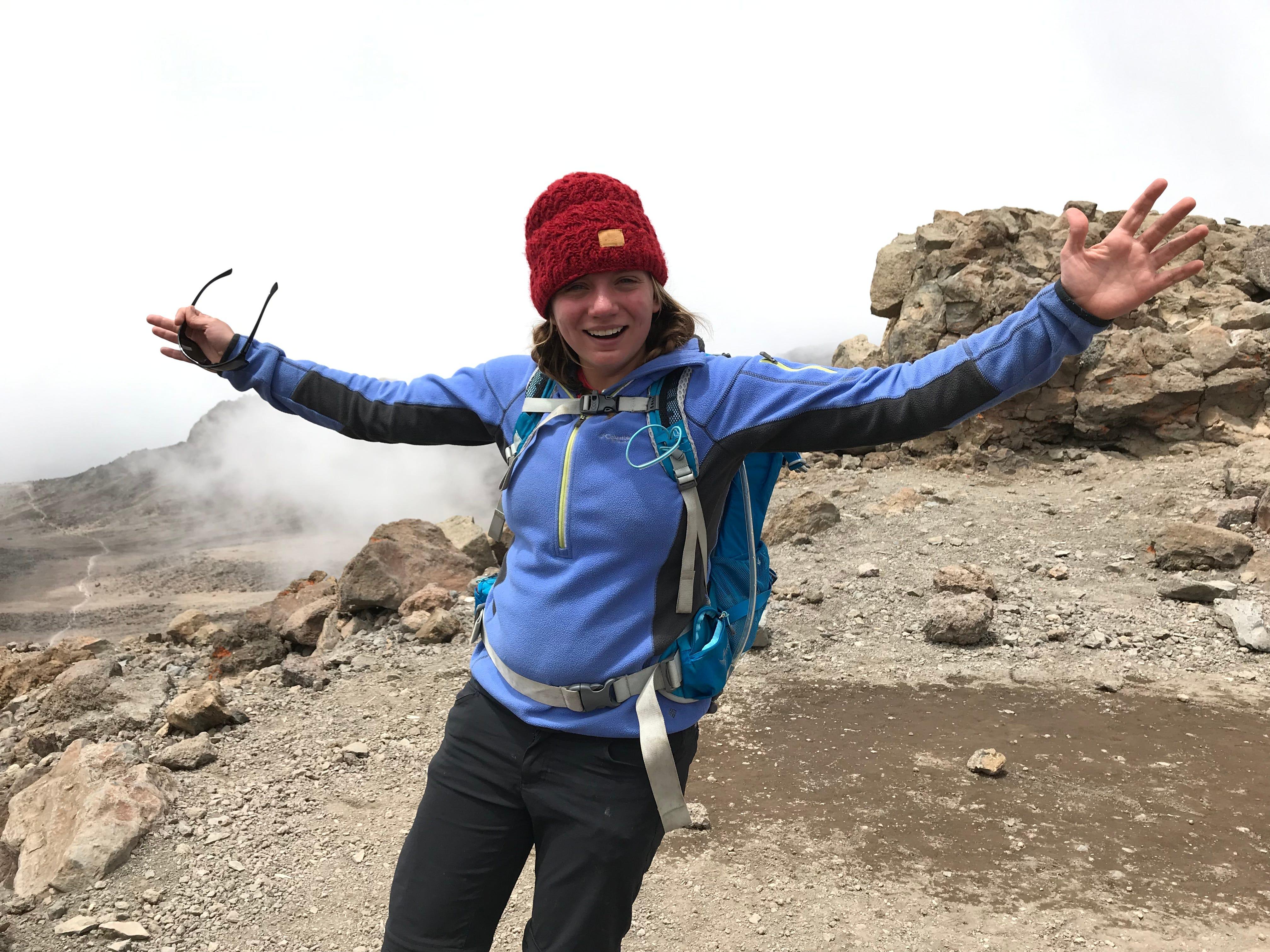 Jordan Grantz after summitting Mount Kilimanjaro, Tanzania