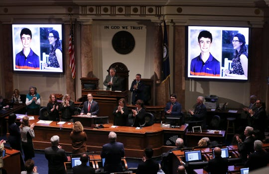 Governor Matt Bevin was applauded as he showed images of Marshall County High School students Preston Cope and Bailey Holt who were killed during a shooting at the school last year.  He was delivering his State of the Commonwealth address at the State Capitol in Frankfort. Feb. 7, 2019