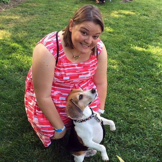 Mychell Lawson, with Vito the beagle.