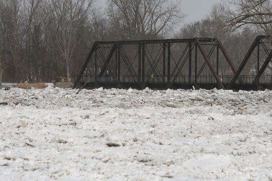 The ice jam in the Grand River has risen up near the bottom of the trestle near downtown Portland.  Officials have ordered some residents to evacuate.