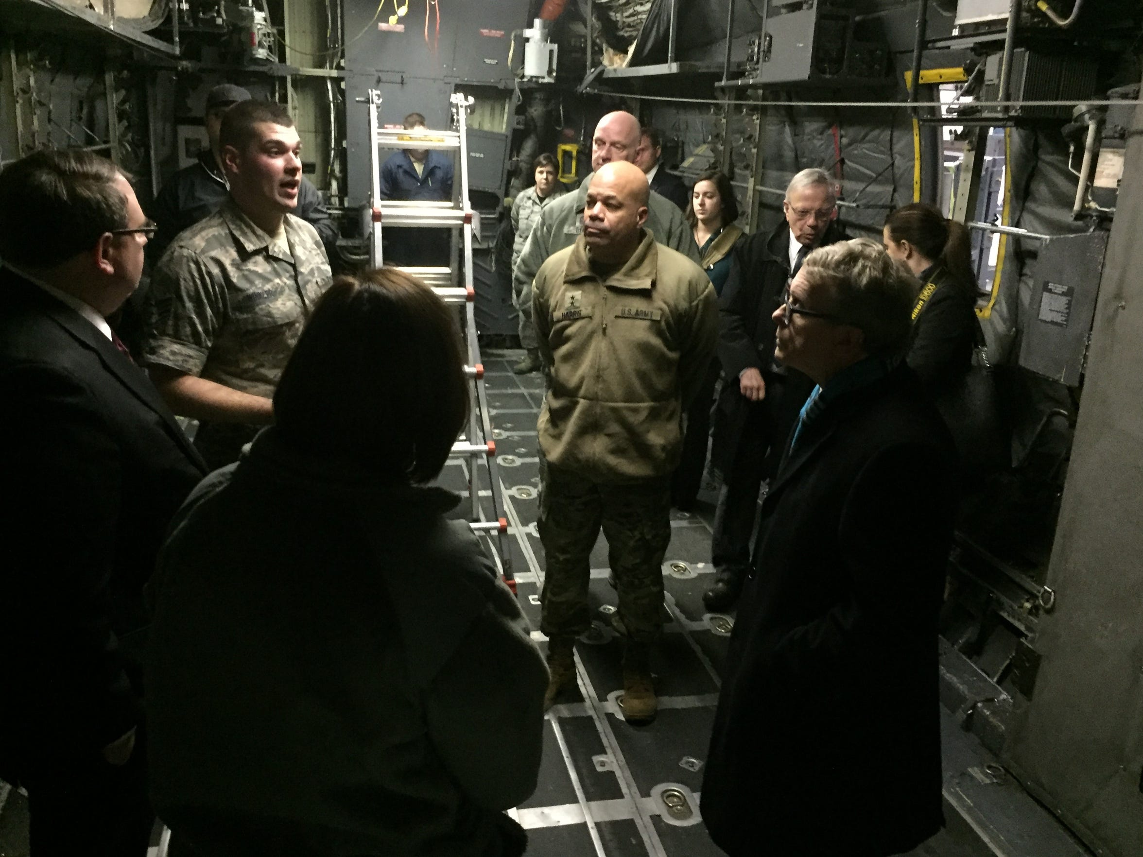 Governor Mike DeWine gets a tour inside a C-130H at the 179th Airlift Wing.