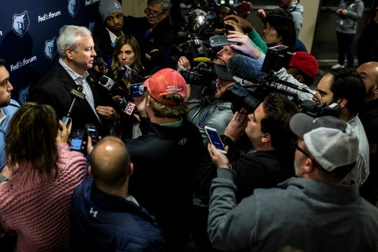 February 08, 2019 - Memphis Grizzlies general manager Chris Wallace speaks to media about the recent trades.