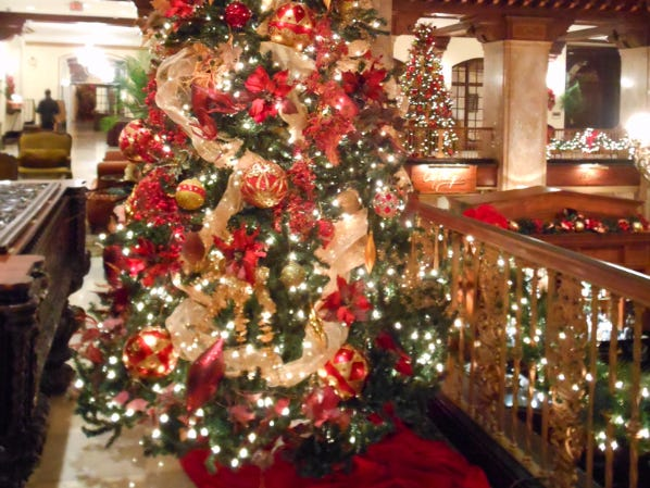 This is one of several Christmas trees on display on the mezzanine level of The Peabody Hotel in Memphis on Dec. 20, 2013.